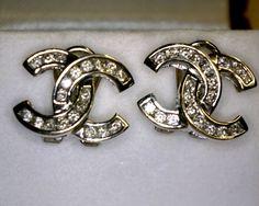 CHANEL DOUBLE C 14KWG AND DIAMOND EARRINGS