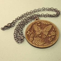Brown #cherry wood laser cut #butterfly pendant #necklace with copper chain by @Connie Morilak #Thesingingbeader #artfire #jewelry