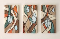 Reeds and Rushes Teal Orange Brown Abstract Mid Century Art Original Acrylic Painting on Canvas