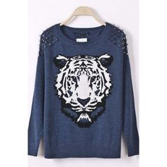 Dark Blue Tiger Head Pattern Rivets Decor Pullover Sweater ($26) ❤ liked on Polyvore
