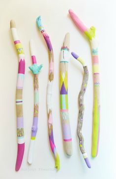 Painted Sticks, Driftwood 6 Piece Set, Long, Skinny - Triangles, Pattern, Bohemian, Boho Beach, Ocean Cottage, California, Neon, Pastel. $120.00, via Etsy. I LOVE this etsy shop, and I want to cover my entire future house with her pieces!