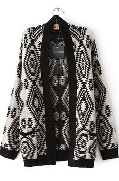 Casual Geometry Print O Neck Long Sleeves Black-White Cotton Cardigan Sweater $14.02