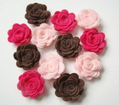 Felt Flower Rose Pink & Brown Collection Set of 12 by sweetiefluhr, $5.99