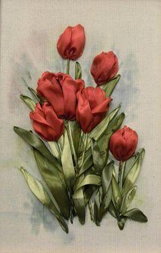 bordado com fitas, tulipas