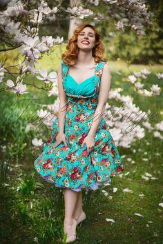 07f566d9c145 Lindy Bop 50s A line Floral Blue Dress 102 39 14853 20141231 1scratch Swing  Rock,