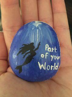 Little Mermaid painted rock