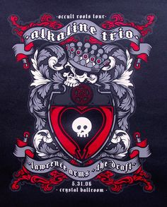 Alkaline Trio poster by Lee Zerman Rock Posters, Concert Posters, Music Posters, Alkaline Trio, Occult, Album Covers, Rock And Roll, Spiderman, Cool Designs