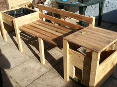 Cat box bench and planter from reclaimed wood