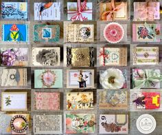 The whole collection of 29 matchboxes from the LobsterandSwan.com Matchbox a Day art challenge