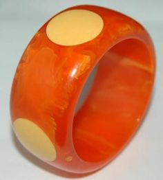 Vintage Heavy Bakelite Marbled Orange w/ Yellow Dots Bangle