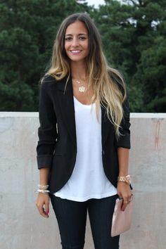 Bedazzles After Dark: Pinspiration Outfit Post: Blazer, Jeans, Tee, Repeat
