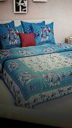 Cotton bedsheets with two pillow covers fast colours 90x108size