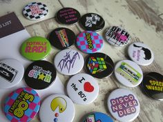 80's themed button badges. Love making these orders #childofthe80s