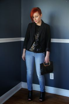 Thrift and Shout: Cute Outfit of the Day: Light Jeans Dressed Up, fashion, Forever 21 necklace, vintage sequined top from the Teen Challenge Thrift Store in Westerville, Ohio, Target blazer and heels, Old Navy jeans, red hair, undercut, asymmetrical haircut