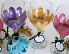 """Hand painted, Dishwasher safe glassware by """"Judi Painted it"""".  FREE Personalization and FREE Gift boxes."""