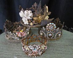 Crowns embellished with vintage jewelry