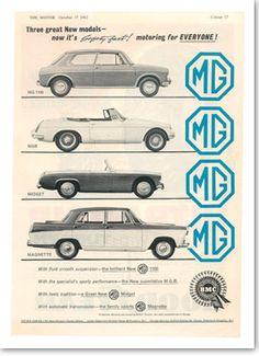 Original MG Advert. British Sports Cars, British Car, Classic Motors, Classic Cars, Peugeot, Mg Cars, Vintage Ads, Vintage Posters, Car Advertising