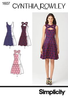 Add a unique touch to a classic flare dress with a criss-cross neckline! #Simplicity #sewing #pattern 1607