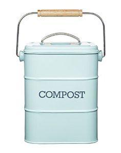 Kitchen Craft 3 Litre Living Nostalgia Steel Compost Bin, Vintage Blue: Amazon.co.uk: Kitchen & Home