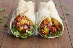 Hawaiian BBQ Chicken Wraps - - Nothing better than a little Hawaiian twist to BBQ chicken, layered inside a tasty wrap! These Hawaiian BBQ Chicken Wraps are EASY, healthy and delicious. Bbq Chicken Wraps, Chicken Wrap Recipes, Pork Wraps, Barbecue Chicken, Dinners Under 500 Calories, Protein Lunch, High Protein, Hawaiian Bbq, Hawaiian Chicken