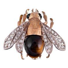 1stdibs | Fine Edwardian Bee Pin with Tigers Eye and Diamonds