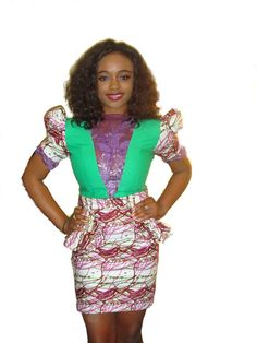Lacefront Color Block Peplum Dress Available in by GLAMMfashion, $80.00
