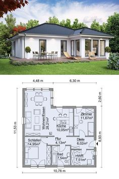 Modern bungalow house with hipped roof architecture - building house ideas Floor plan corner bungalow barrier-free prefabricated house SH 90 WB from ScanHaus Marlow - HausbauDirekt. Modern Bungalow House, Bungalow House Plans, Modern House Plans, Small House Plans, House Floor Plans, Bungalow Homes, House Layout Plans, House Layouts, Small House Design
