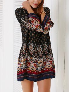 Ethnic Style Bell Sleeve Tribal Print Shift Dress For Women