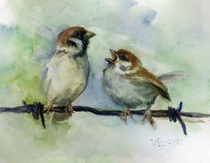 Sparrow Birds watercolor fine art print by VerbruggeWatercolor