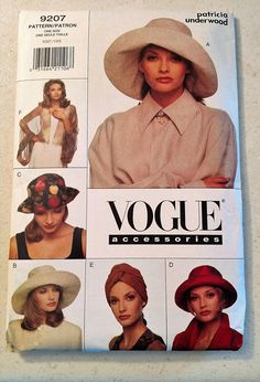 65393b77c26 Pattern  Vogue 9207 - New Uncut Makes  Hat in 4 different styles Sizes
