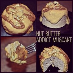 """Nut Butter Addict Mugcake with Peanut Butter """"Icing"""", Almond Butter, & Chopped Cashews 