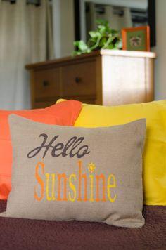 """Hello Sunshine"" Yellow and orange Burlap  Pillow by Whimsyoftesouth on Etsy.com"