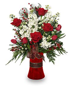 Holiday Happiness Christmas Arrangement Christmas Vases Christmas Flowers Christmas Table Decorations Table Flower