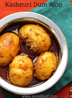 Kashmiri Dum Aloo (Potatoes cooked in aromatic spices-an authentic Kashmiri dish)  sonisfood.com