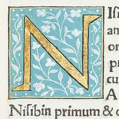 "Decorated initial ""N"" from Scriptores historiae Augustae."