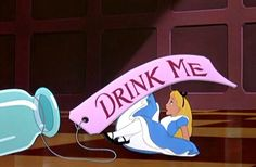 One of the original illustrations from Alice in Wonderland with the Drink Me bottle. Description from eyeconnectcrafts.com. I searched for this on bing.com/images