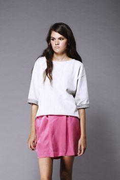 Shanti Sundays Herringbone Weave reverse Sweat and silk tulip skirt Made in UK