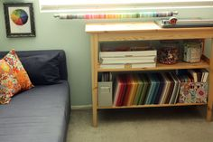 3 worthy things to note: (1) Color wheel framed (2) washi tape galore! (3) look at that big jar of buttons!