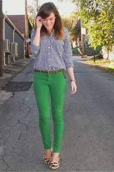 Plaid top, green jeans, flats