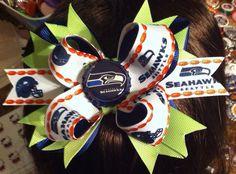 Seattle Seahawks boutique style bottle cap girls hair bow  on Etsy, $10.50