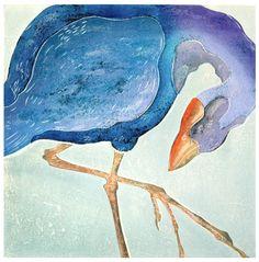 Purple Bird - woodblock print 2000 - Ralph Kiggell, Asia