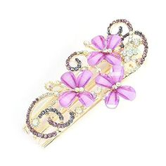 FOREVER YUNG Purple Faux Crystal Inlaid Butterfly Decor 3 Prong Alligator Hairpin *** Click on the image for additional details.