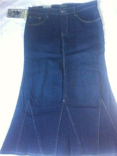 Women's Jeans Skirt Long Skirt Stretch Skirt Blue Denim Skirt ...