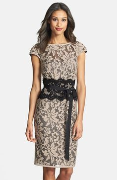 Free shipping and returns on Tadashi Shoji Embroidered Lace Sheath Dress at Nordstrom.com. Exquisite embroidery flourishes around the gossamer illusion-yoke overlay of an elegant cap-sleeve sheath refined by a sultry contrast panel and grosgrain ribbon slimming the waist.