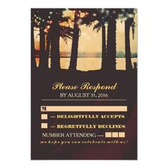 Sunset Wedding RSVP Cards festive lights palms beach wedding RSVP Card