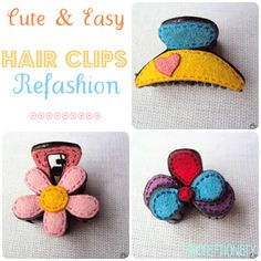 Easy Felt Hair Claw Clips Refashion