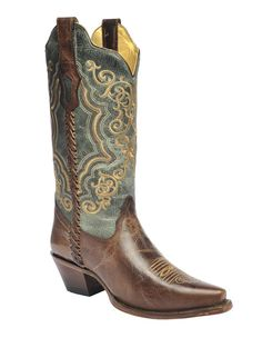 Corral Women's Brown and Turquoise Whip Stitch Boots - HeadWest Outfitters