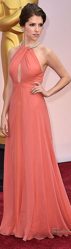 #Oscars 2015 Anna Kendrick in Thakoon  This coral dress looks simple yet pretty