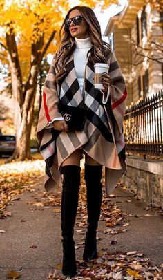 30 Chic Outfits To Wear On Thanksgiving Day what to wear with a poncho : bag over knee boots white high neck sweater The post 30 Chic Outfits To Wear On Thanksgiving Day & OTK Boots Outfit appeared first on Fall outfits . Cute Fall Outfits, Winter Fashion Outfits, Fall Winter Outfits, Classy Outfits, Stylish Outfits, Autumn Fashion, Fashion Clothes, Outfits For Thanksgiving, Women's Winter Fashion