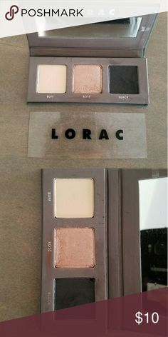 Lorac pocket pro 2 eyeshadow palette Gently used really just the middle rose shade . See pics. Colors include buff, rose and black. Great travel buddy good to add if you are bundling. Lorac Makeup Eyeshadow